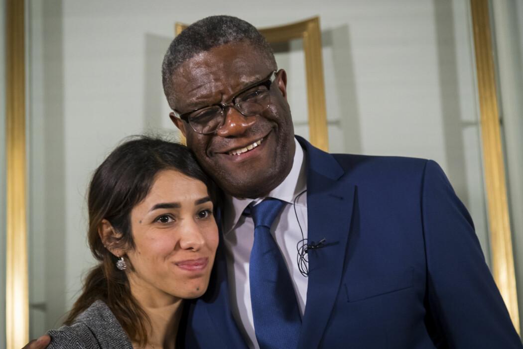Nadia Murad og Denis Mukwege fikk årets fredspris for sin «innsats for å stanse bruken av seksuell vold som et våpen i krig og væpnede konflikter». (Foto: Heiko Junhe / NTB Scanpix)