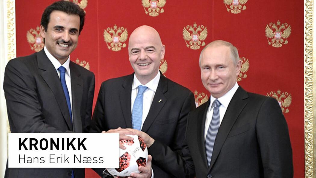 Fra venstre: Qatars Emir, Sheikh Tamim bin Hamad al-Thani, FIFA-president Gianni Infantino og Russlands president Vladimir Putin. (Foto: Alexei Nikolsky / Sputnik / AP / NTB Scanpix)
