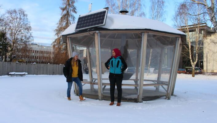Et solcellepanel, en mottaker og en boks er det som skal til for å skape et wifipunkt. (Foto: Elise Kjørstad)