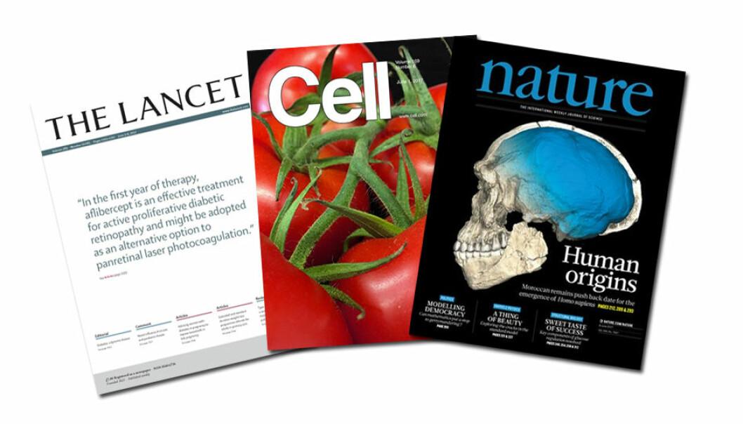 Store, velrenommerte tidsskrifter som The Lancet, Cell og Nature får artikler kastet etter seg og selger dyre abonnement tilbake til stedene hvor forskningen ble gjort.  (Faksimile fra Elsevier og Springer Nature)