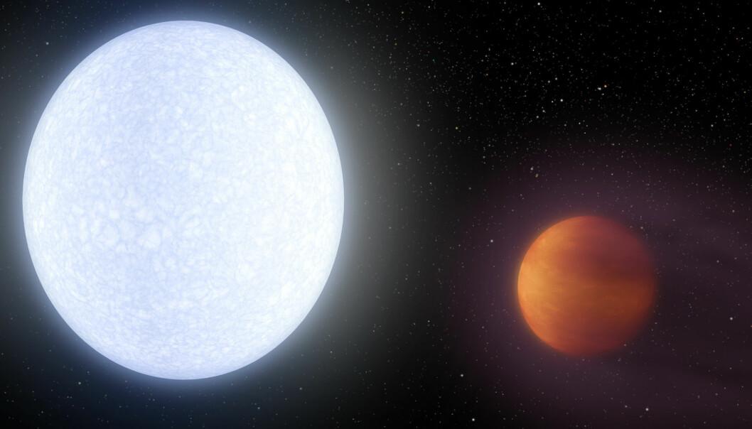 Forskere har oppdaget en ekstremt varm planet, som har fått navnet KELT-9b. Den er så tett på stjernen at et år på planeten bare tar 1,5 jorddøgn.  (Illustrasjon: NASA/JPL-Caltech/R. Hurt/IPAC)