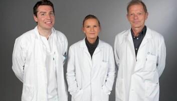Fra venstre nevrokirurg Daniel Dahlberg, nevropsykolog Ane Gretesdatter Rogne og overlege Bjørnar Hassel. (Foto: Christian Nissen, Rikshospitalet)