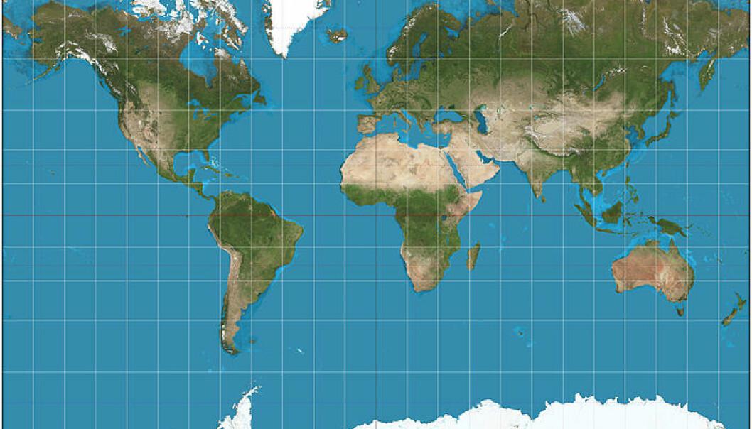 Mercator-projeksjonen – og verden som vi kjenner den. Legg merke til at Grønland er like stort som Afrika, og at Sør-Amerika og Europa har nærmest samme størrelse.  (Foto: Wikipedia/CC BY-SA 3.0)