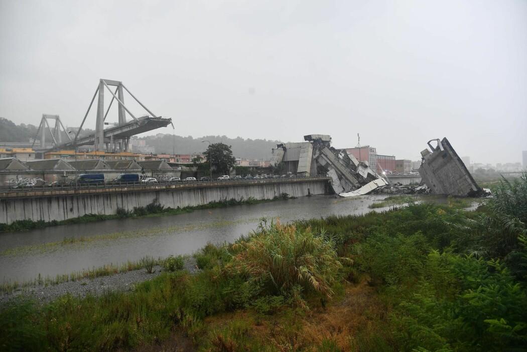 Den katastrofale Morandi-brokollapsen i Genova i Italia kostet 43 mennesker livet. (Foto: Luca Zennaro / ANSA / AP / NTB Scanpix)