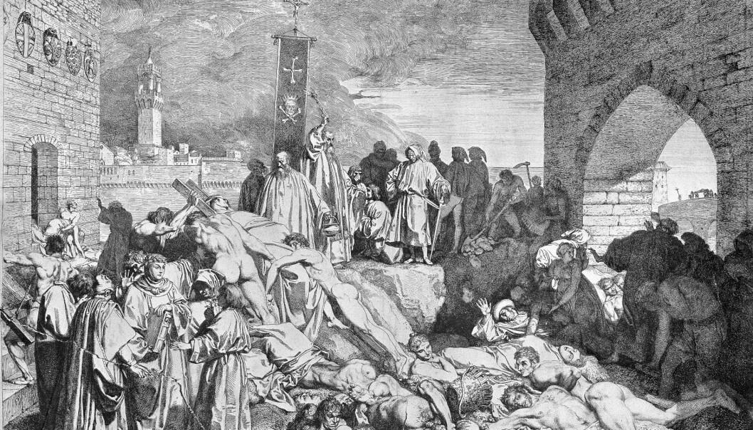 Skissa beskriv pesten som herja i Firenze i 1348. Korleis kunne sjukdommen spreie seg så kraftig? Og kvifor blir ikkje like mange av oss smitta i dag? (Skisse: L. Sabatelli/Wellcome images CC BY 4.0)