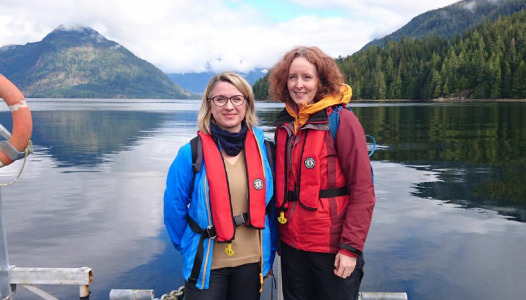 Prosjektleder Ann-Magnhild Solås og forsker Ingrid Kvalvik i British Columbia, Canada, for å lære hvordan ulike interessegrupper får frem sine syn i planprosessene der. (Foto: Nofima)