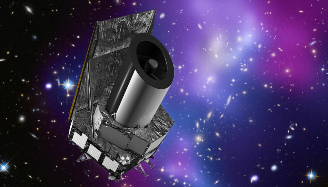 Det europeiske romteleskopet Euclid skal undersøke to milliarder galakser for å finne ut hva mørk energi og mørk materie er for noe. (Grafikk: ESA / C. Carreau)
