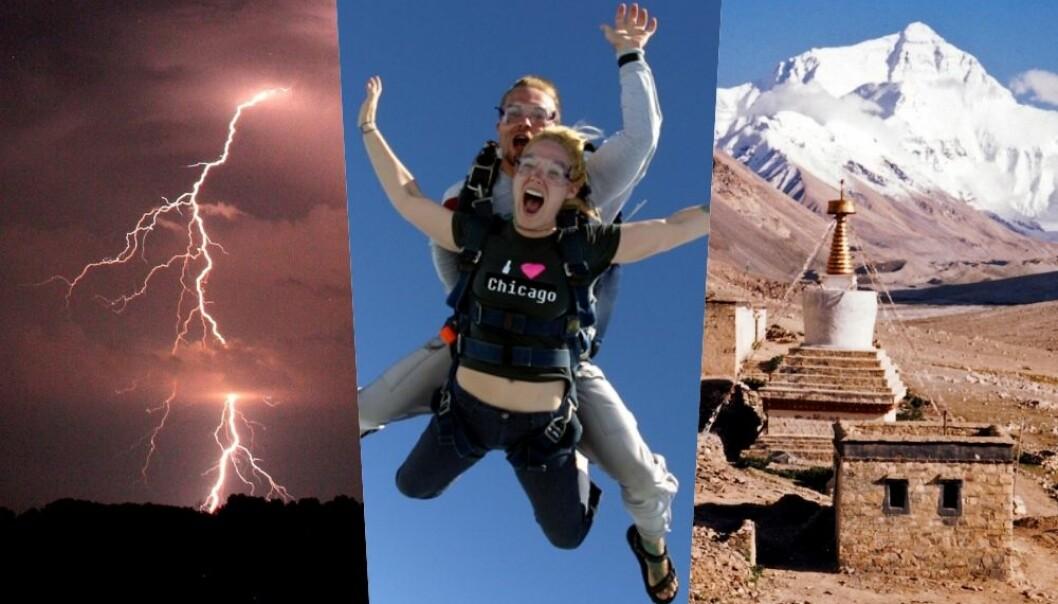 Leser du nyheter, kan du få inntrykk av at mange mennesker lider en voldsom død. Men det gjør de aller færreste av oss. Nesten ingen dør lenger i flyulykker, litt flere blir drept av lynnedslag og enda litt flere dør av vepsestikk. Få omkommer om de prøver å hoppe i fallskjerm. Men noe du ikke bør gjøre om du vil berge livet, er å prøve deg på verdens høyeste fjell. (Bilder: Douglas S. Smith/Wikipedia, Griffinstorm/Wikipedia, CC BY-SA 4.0)