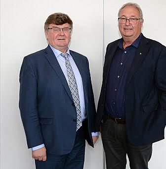 Direktør Oleg Petrov (t.v.) i den russiske geologiske undersøkelsen VSEGEI, og hans tidligere direktørkollega ved NGU, Morten Smelror (t.h.), er fornøyd med det internasjonale samarbeidet i kartleggingen av Arktis.