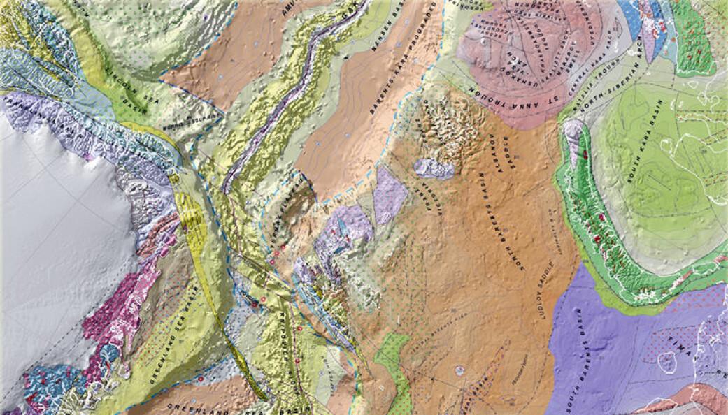 Utsnitt av det tektoniske kartet over Arktis som viser hvordan jordskorpen er bygget opp, dannet og deformert gjennom historien. (Foto: NGU)
