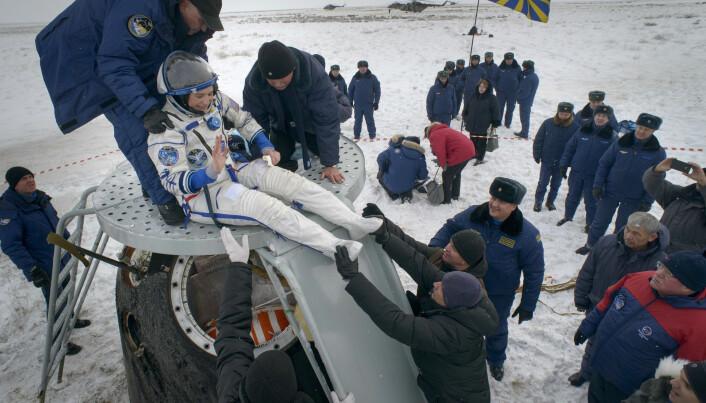 Amerikanske Serena Aunon-Chancellor var en av astronautene som kom tilbake til jorden. (Foto: Bill Ingalls / NASA / AP / NTB scanpix)