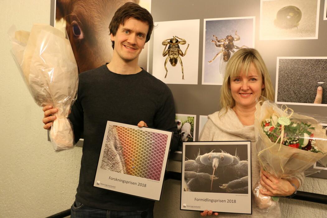 Snorre Gulla og Jannicke Wiik-Nielsen har vunnet Veterinærinstituttets forskningspris og formidlingspris for 2018. (Foto: Bryndis Holm)