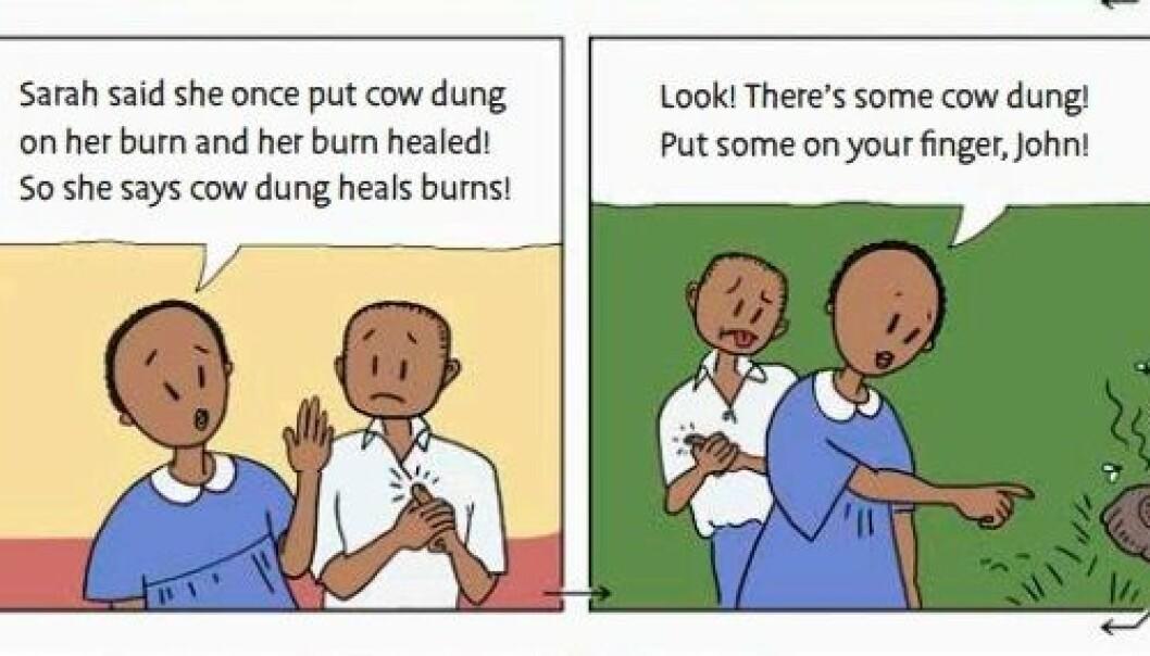 Å legge kumøkk på brannskader er et vanlig kjerringråd i Uganda. Gjennom tegneserier i en lærebok fra prosjektet Informed Health Choices lærer barna å være kritiske til slike påstander. (Illustrasjon: Informed Health Choices)