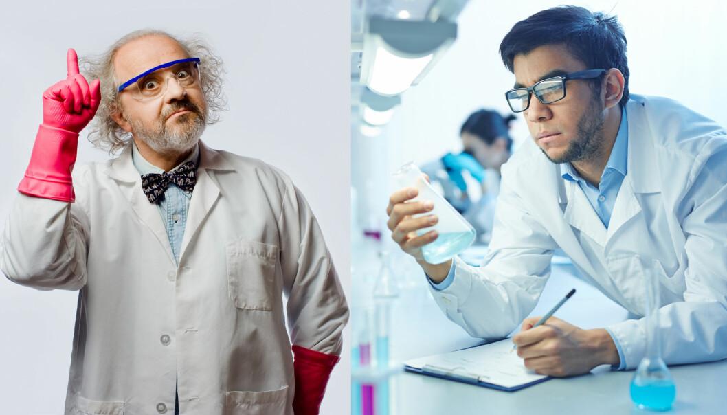 Hvem er den mest troverdige forskeren her? Det er i hvert slik illustrasjonsfotografene ser for seg vitenskapsfolk.  (Foto: Shutterstock/NTB Scanpix/kollasje)