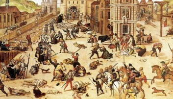 Bartolomeusnatten: Natten til 24. august 1572 begynte katolikkenes massakre på hugenottene i Paris. Den fortsatte i ukene som fulgte, og spredte seg til andre byer. Flere tusen hugenotter ble myrdet, fengslet eller gjort til slaver. (Illustrasjon: François Dubois / Wikipedia)