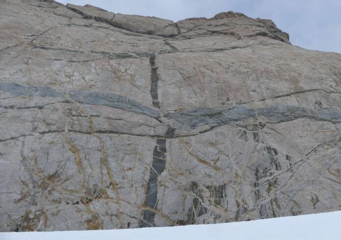 Menneskene blir små når fjellveggene er store. Ser du personen øverst på snøfonna? Smelter som størkner langs ganger og lag gir imponerende relasjoner i fjellsidene. (Foto: Ane K. Engvik)