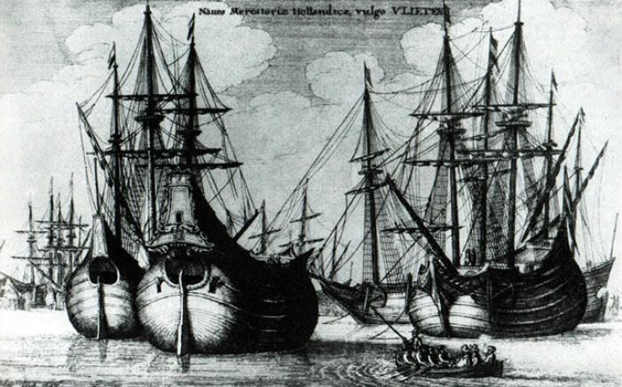 Mange Nederlandske skip var bygget for tømmertransport. (Illustrasjon: Wenceslaus Hollar, 1647)