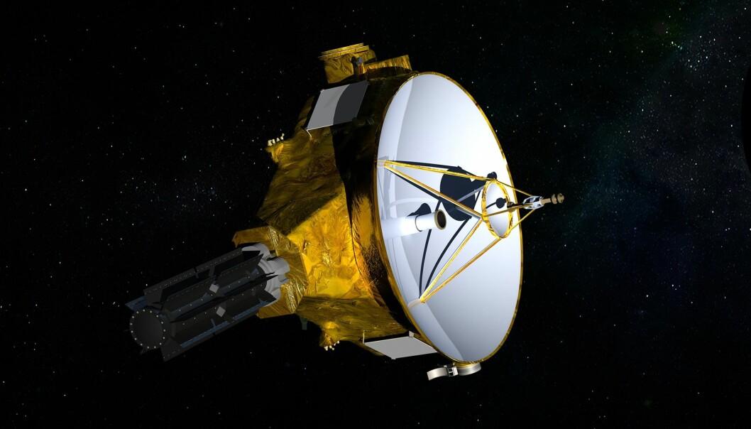 En NASA-illustrasjon viser romsonden New Horizons, som første nyttårsdag besøker det fjerntliggende objektet Ultima Thule. Sonden, som er på størrelse med et flygel, har tidligere sendt hjem de første nærbildene av Pluto. (Illustrasjon: NASA/JHUAPL/SwRI / AP / NTB scanpix)