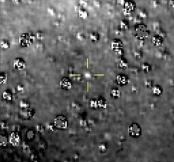 Et bilde fra NASA-sonden New Horizons viser Ultima Thule, markert i midten. Første nyttårsdag flyr New Horizons tett forbi det 30 kilometer store objektet i det såkalte Kuiperbeltet, et fjerntliggende område som strekker seg fra Neptuns bane og utover. (Foto: NASA / Johns Hopkins University Applied Physics Laboratory/Southwest Research Institute via AP / NTB scanpix)