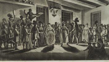 Det var svært viktig for unge menn å lære seg den kompliserte dansen menuett. Det gjaldt også norske gutter fra rike familier.  (Bilde: New York Public Library's Digital Library/wikimedia commons)