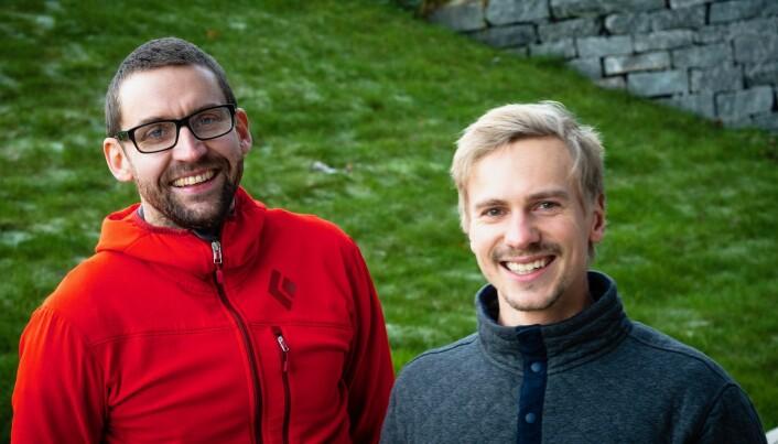 Espen Hermans og Atle Hole Sæterbakken forsker på klatring og prestasjon. (Foto: Terje Rudi/HVL)