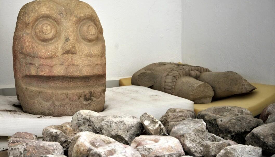 Ett av hodene og kroppen til «den flådde guden» Xipe Totec er funnet i den mexicanske delstaten Puebla. (Foto: Meliton Tapia Davila / INAH / AP / NTB scanpix)