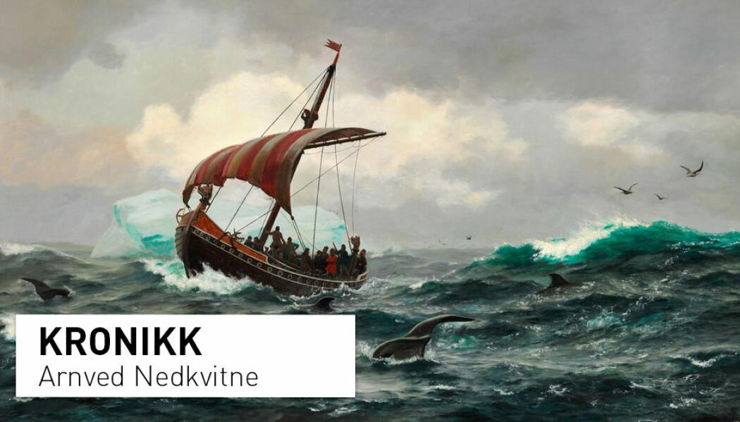 – De norrøne overlevde på Grønland i over 400 år fordi de brakte med seg økologiske tilpasnings-strategier fra Norge og Island, skriver kronikkforfatteren. (Maleri av Carl Rasmussen)
