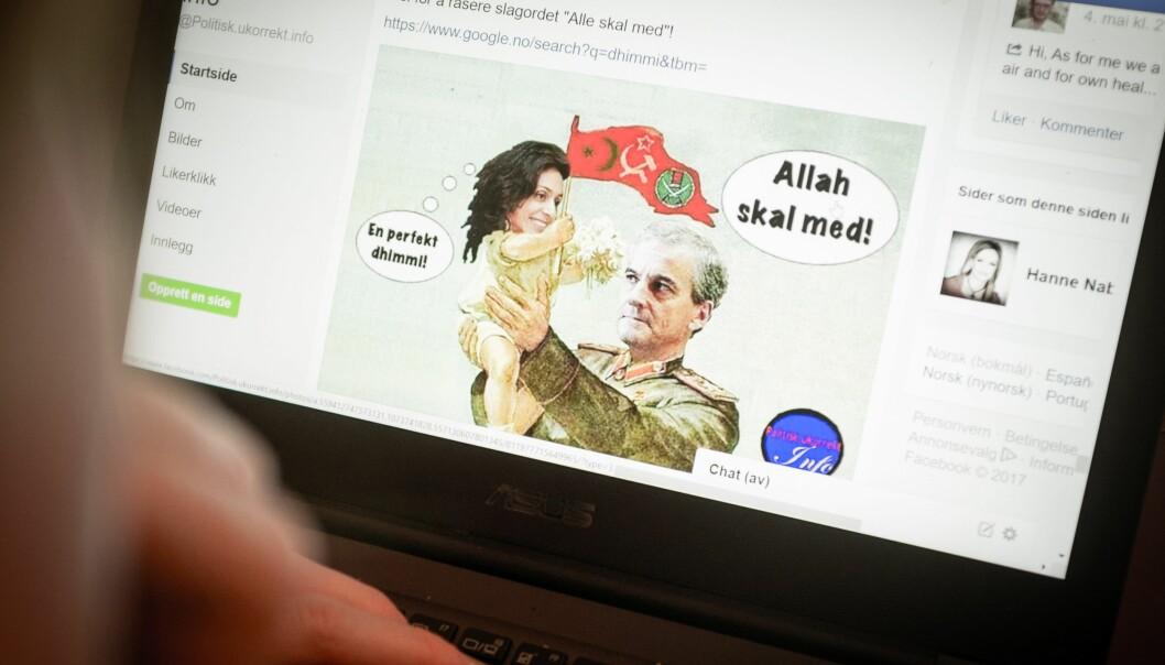 Forsker og ekspert på sosiale medier, Petter Bae Brandtzæg monitorerer, følger blant annet med på facebooksiden «Politisk ukorrekt info» som har over 20 000 følgere. (Foto: Per Olav V. Tverfjell)