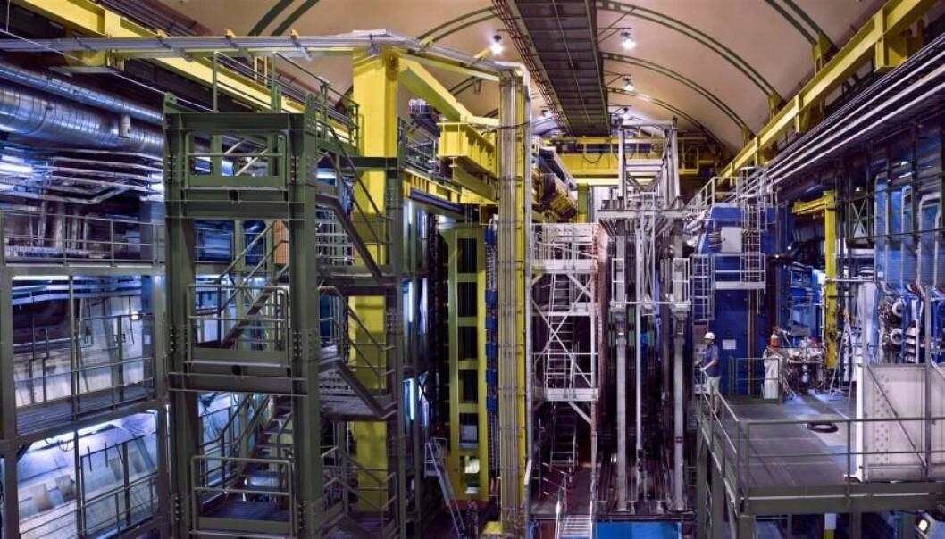 I detektoren LHCb støter protoner sammen på en måte som gjør at det produseres mange partikler av typen B-mesoner. De er nemlig spesielt nyttige når det gjelder å komme på sporet av ny fysikk. (Foto: M. Brice/CERN)