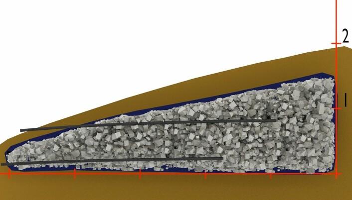Byggetegning av salamanderhotellene nr 1 med en kjerne av stein omgitt av en veiduk og overdekt med jord. Kjernen med stein i hotellene er 1,5 til 5,0 meter i diameter, 0,6 til 1,5 meter høye. Hver strek tilsvarer 1 meter.