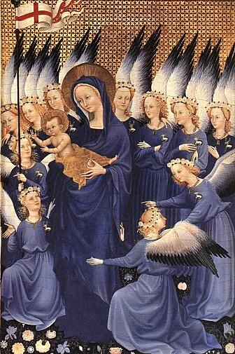 """Et eksempel på bruk av ultramarin fra lapis lazuli. Dette er ikke et manuskript, men en plansje kalt """"The Wilton diptych"""" fra 1300-tallet. (Bilde: Ukjent)"""