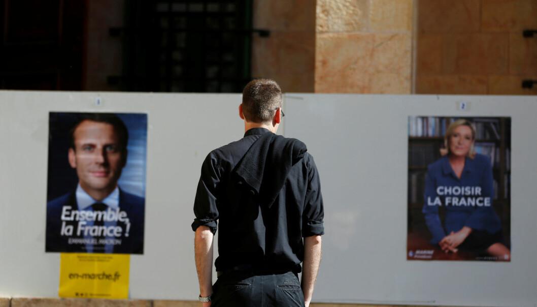 I dag avgjøres valget mellom Marine Le Pen og Emmanuel Macron i Frankrike. (Foto: Reuters / Ronen Zvulun)