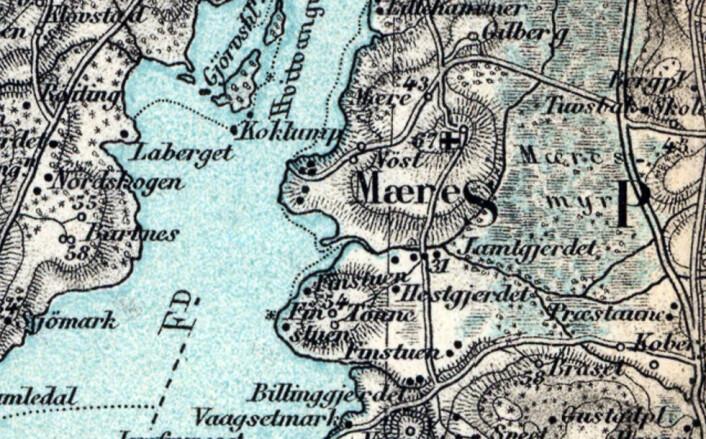 Kartutsnitt fra 1881 som viser området ved Mære i Nord-Trøndelag. Like sør for Mærekirka ligger 3 plasser kalt Finstuen. (Foto: Kartutsnitt ved Kjell M. Derås, fra © Kartverket, Historiske kart)