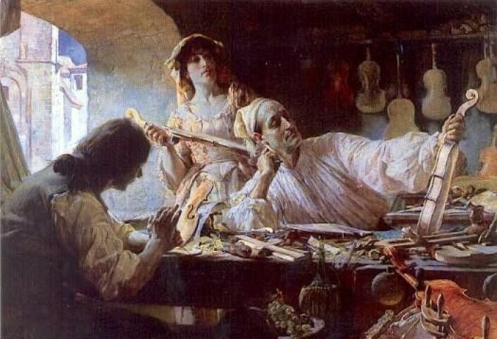 Et maleri av Antonio Stradivari fra 1893. Dette var slik kunstneren Edgar Bundy så for seg at Stradivari jobbet. (Foto: (Bilde: Edgar Bundy))