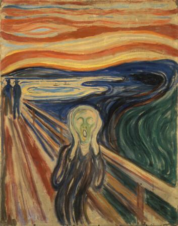 Skremt av skyenes sterke farger? Denne versjonen av Skrik er malt i 1910. (Foto: (Illustrasjon: Edvard Munch / Wikimedia commens))