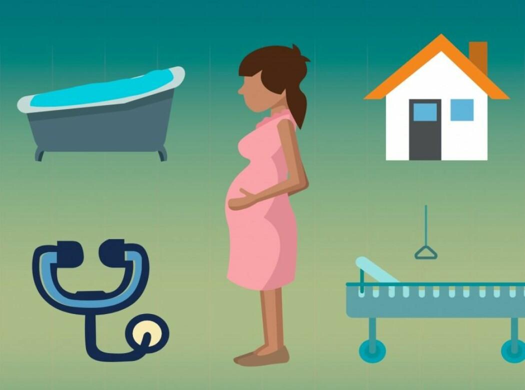 Skal du velge sykehusfødsel, hjemmefødsel eller vannfødsel, og er det en fordel å føde på huk? (Illustrasjon: Piktochart/Nina Ausum Agergaard)
