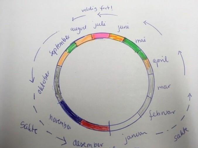 Anne Lises føler at årets måneder følger hverandre motsatt vei av klokka. (Bilde: forskning.no)