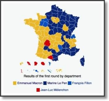 Slik er Frankrike splittet geografisk før annen valgomgang i det franske presidentvalget på søndag. Marine Le Pens Øst-Frankrike (blått) står mot Emmanuel Macron sitt Vest-Frankrike (gult). Andre fylker (farger) ble i første valgomgang vunnet av to andre kandidater. (Foto: (Kart: Mélencron/CC BY-SA 4.0))