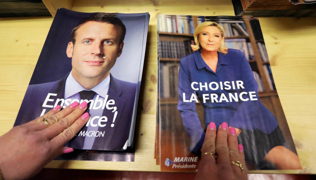 Emmanuel Macron kan bli den første mannen under 40 år siden Napoléon Bonaparte som leder Frankrike. Macron er opptatt av fakta, men ingen karismatisk folketaler. Her i Norge er Jonas Gahr Støre en politiker som ligner den franske presidentfavoritten. Begge har utdannelse fra eliteskoler i Paris. Marine Le Pen leder et parti 70 prosent av franskmennene oppfatter som en trussel.  (Foto: Eric Gaillard/Reuters/NTB scanpix  )
