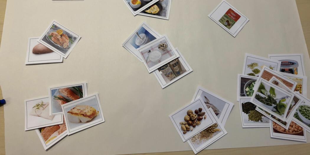 – Slik valgte en deltaker å gruppere produktbildene, forklarer sensoriker Kristine Myhrer. Hun hadde ansvaret for fokusgruppene. (Foto: Nofima)