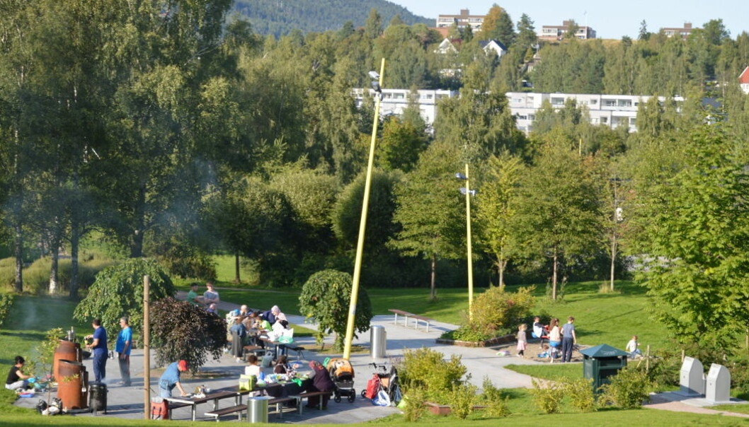 Grillområdet midt i Verdensparken på Furuset er populært. Her kan voksne lage mat og være sammen, mens barna leker. (Foto: Stine Rybråten, NINA)