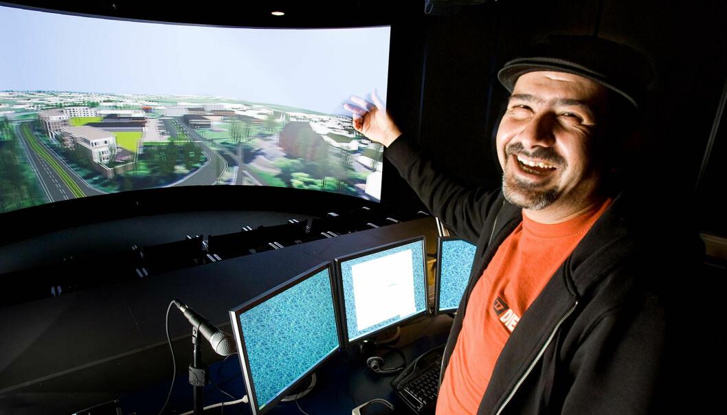 – I dag får vi ofte bare se glansbildet med ferdigbygde hus, ferdigvokste grøntområder og vakre, lykkelige mennesker som bor der. Virtual Reality bør også brukes som et verktøy som viser helheten, sier Ramzi Hassan.  (Foto: Håkon Sparre)