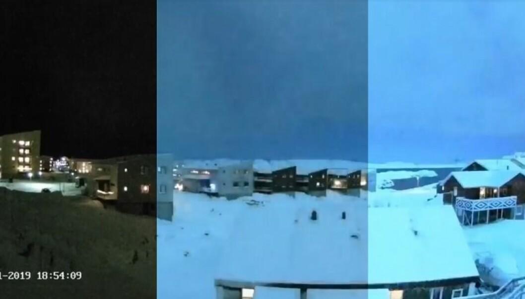 Så lyst ble det da meteoren fløy over Nuuk. Nuuk er hovedstaden på Grønland. (Foto: Skjermbilde/Gustav Fischer/videnskab.dk)
