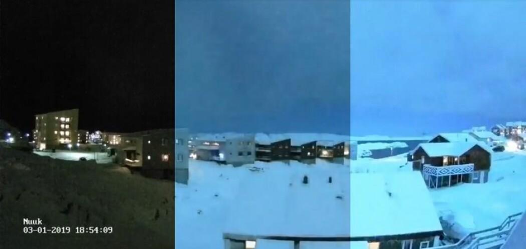 Hele Nuuk ble opplyst i de fem sekundene meteoren brukte på å fly forbi. Det er fortsatt uvisst om den traff bakken. (Foto: Screendump/Gustav Fischer/videnskab.dk)