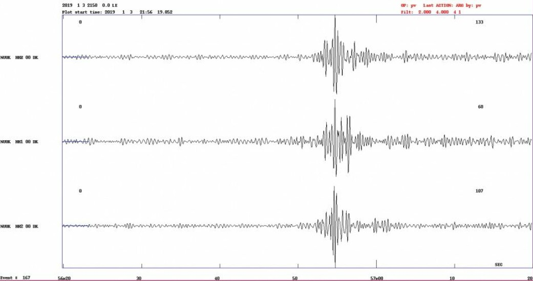 Målestasjonen i Nuuk har tre sensorer som alle slo ut på det tidspunktet meteoren ble observert, forteller Peter Voss. (Illustrasjon: GEUS)
