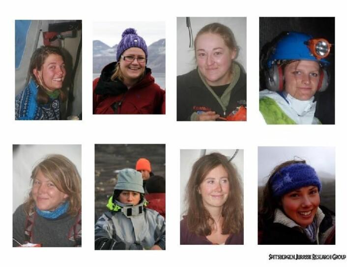 Noen forskergrupper gjør det skarpt på jentefronten. Her er forfatterne av de åtte masteroppgavene om fossiler fra jura på Svalbard. Foto: Spitsbergen Mesozoic Research Group