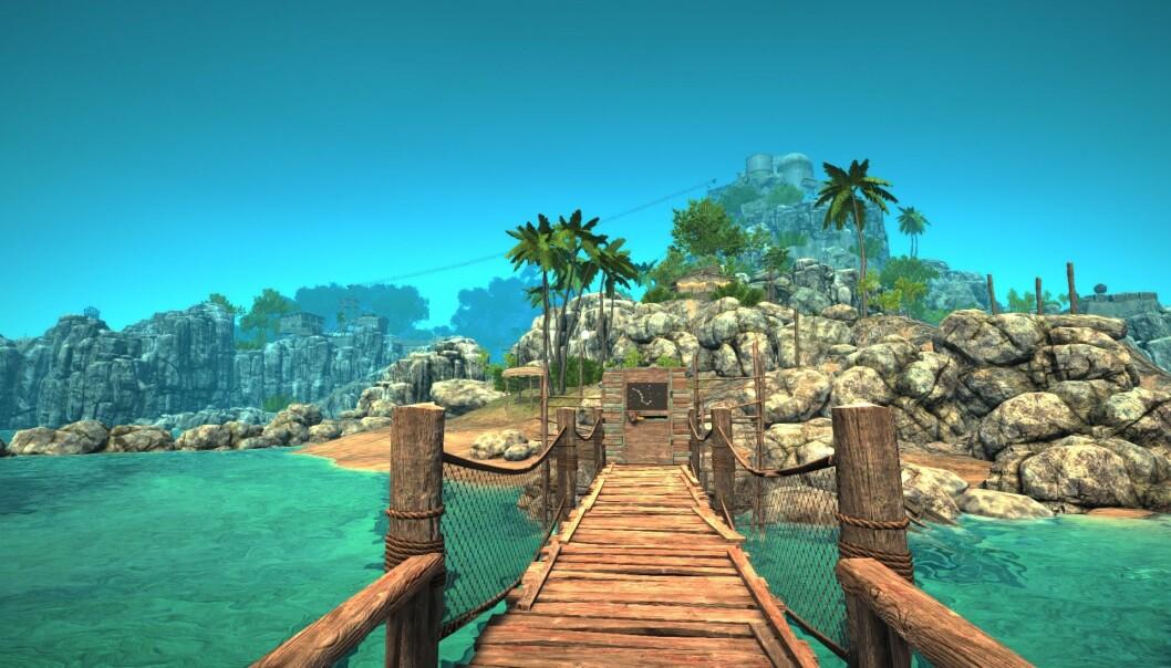 """Det første som møter deg på øya i """"Odyssey"""". (Foto: Skjermdump)"""