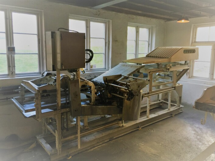 TRIO- tredemaskin brukt på King Oscar sin fabrikk på Davanger frem til 2002 Foto: MUST/ Norsk hermetikkmuseum