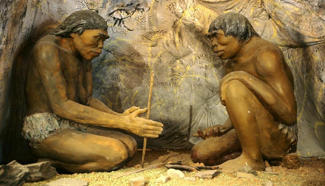 To tidlige mennesker (Homo erectus) gjør opp ild. Disse to sitter nå i det historiske museet i Ulaanbaatar i Mongolia.  (Foto: Nathan McCord, Wikimedia Commons)