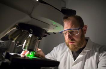 Nylon, fleece og polyester har nå havnet under forskernes luper. Her inspiserer imidlertid Sintef-forsker Andy Booth karbon-nanorør. (Foto: Thor Nielsen)